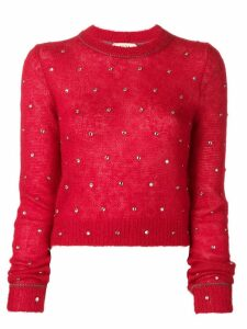 Nº21 crystal embellished jumper - Red