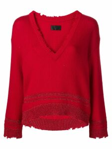RtA V-neck boxy sweater - Red