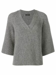 Roberto Collina v-neck ribbed sweater - Grey