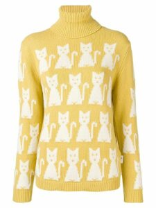 Moncler Grenoble kitten-intarsia sweater - Yellow