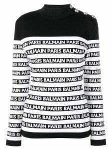 Balmain logo striped sweater - Black
