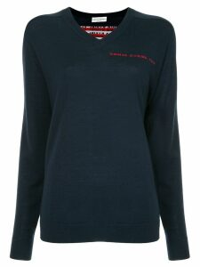 Sonia Rykiel logo back V-neck sweater - Blue