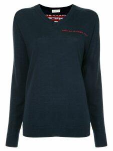 Sonia Rykiel logo back V-neck sweater - Blue