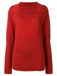 Jacquemus long-sleeve fitted sweater - Red