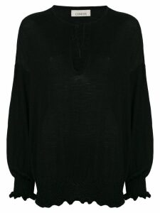 Laneus elasticated knitted top - Black