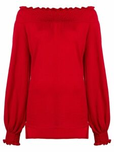 Laneus off shoulder knitted top - Red