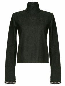 16Arlington high neck denim shirt - Black