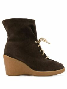 Maison Martin Margiela Pre-Owned 2000's wedge lace-up boots - Brown