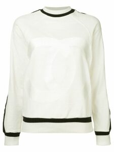 Chanel Pre-Owned contrast trim sweater - White