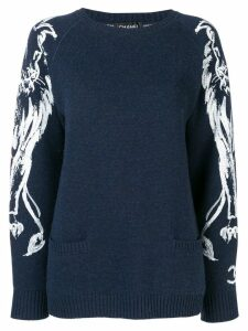 Chanel Pre-Owned lion brush print jumper - Blue