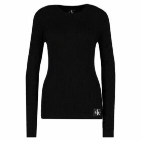 Calvin Klein Jeans  Monogram Badge Rib Crew Neck  women's Sweatshirt in Black