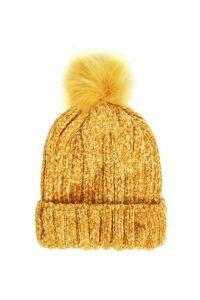 Quiz Mustard Chenille Knit Pom Hat