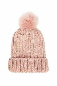 Quiz Pink Chenille Knit Pom Hat