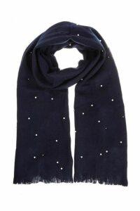 Quiz Navy Pearl Knit Scarf