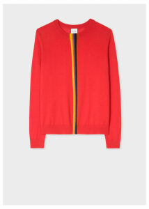 Women's Red Merino Wool Sweater With 'Artist Stripe' Detail