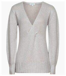 Reiss Kat - Twist Front V-neck Jumper in Soft Grey, Womens, Size XXL