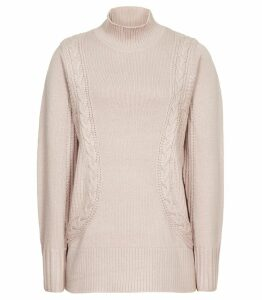 Reiss Dalia - Funnel Neck Jumper in Bisque, Womens, Size XXL