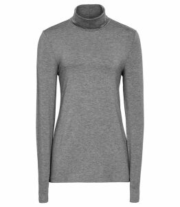 Reiss Charlie - Jersey Rollneck Top in Grey, Womens, Size XL