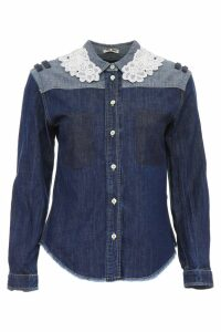 Miu Miu Denim Shirt With Macramé Lace