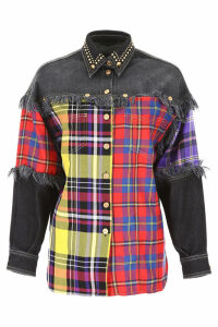 Versace Tartan And Denim Shirt