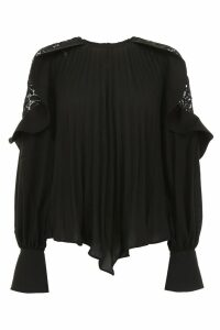 self-portrait Pleated Top With Lace Details