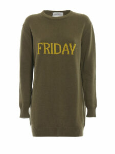 Alberta Ferretti Friday Green Long Crewneck Sweater