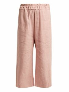 By Walid - Dania Cropped Linen Trousers - Womens - Light Pink