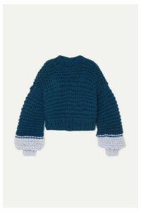 The Knitter - Moon Face Cropped Two-tone Wool Sweater - Navy