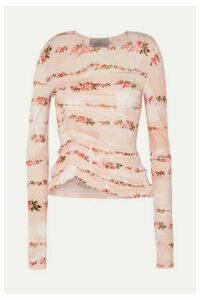 Preen by Thornton Bregazzi - Misha Ruched Floral-print Stretch-crepe Top - Pink