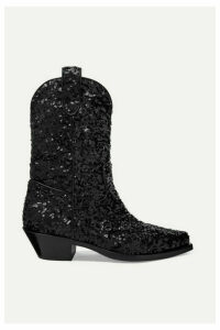 Dolce & Gabbana - Sequined Leather Ankle Boots - Black