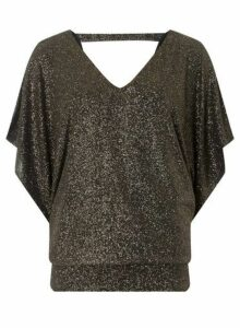 Womens Billie & Blossom Tall Gold Batwing Top, Gold