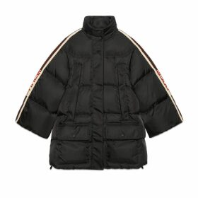 Padded nylon cape jacket with Gucci stripe