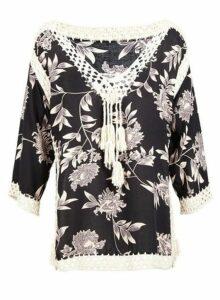 Womens *Black Floral Crochet Top - Multi Colour, Multi Colour
