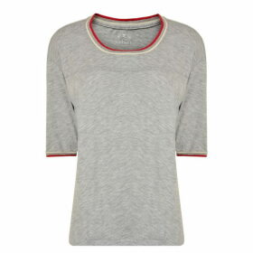 Velvet Trim T Shirt - Grey