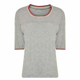 Velvet Trim T Shirt - Grey