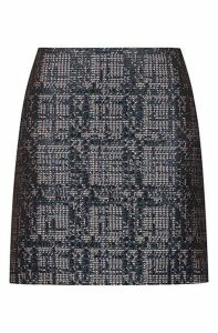 Slim-fit mini skirt in tweed with metallised accents