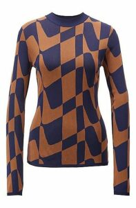Slim-fit sweater in abstract Italian jacquard