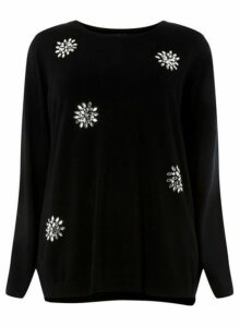 Womens **Dp Curve Black Snowflake Jumper- Black, Black