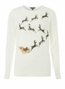 Womens **Tall White Reindeer Design Jumper- White, White