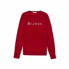 Ille De Cocos Bijoux Merino Sweater - Cherry Red- Pebble Grey