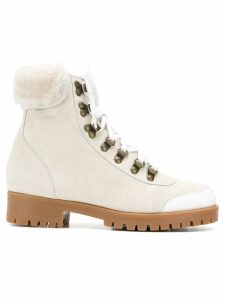 Mr & Mrs Italy trimmed hiker boots - White
