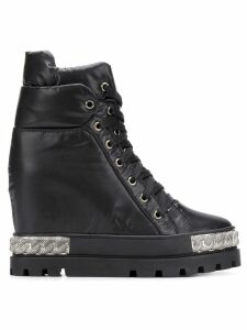 Casadei wedged lace-up boots - Black