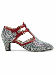 Gucci Crystal T-strap pumps - Silver