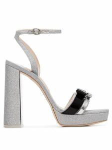 Sophia Webster silver Andie 125 glitter bow leather sandals - Metallic