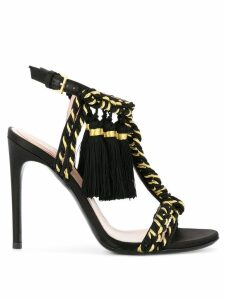 Alberta Ferretti braided strap sandals - Black