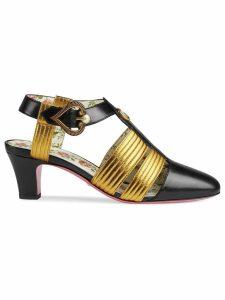 Gucci Leather mid-heel t-strap sandal - Black