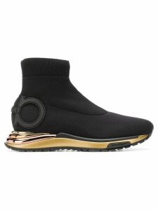 Salvatore Ferragamo hi-top sock sneakers - Black