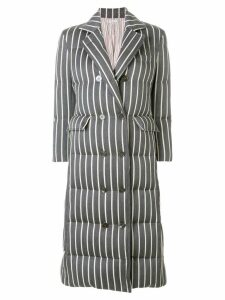 Thom Browne Chenille Banker Stripe Wool & Cotton Overcoat - Grey