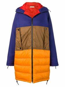 Marni colour block padded coat - Orange