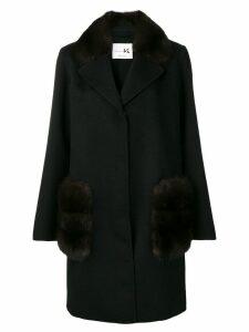 Manzoni 24 fur trimmed coat - Black